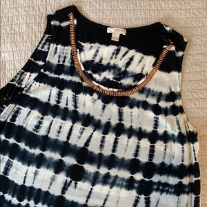 Gorgeous Tie Dye Top w/ wood bead detail - 2X